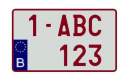 169210 License plate B - Alu - White/Ruby - 34x21cm - 4x4  169210
