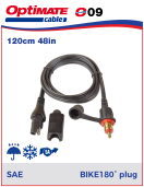 252-009 Adapter-Extension cable - SAE to Bike - contact 180° Charger lead  & extender fits Ø12mm DIN power socket on BMW, Triumph, Victory & selected Honda Gold Wing motorcycles and John Deere ATVs.