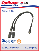 252-045 Y-splitter - DC2.5 plug to 2x DC2.5 sockets Y-splitter - DC2.5 plug to 2x DC2.5 sockets