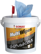 SO468000 SONAX MultiWipes 72pcs Extremely tear resistant and resilient viscose fleece cloths for the thorough cleaning of machines, tools, fuel pumps and other smooth surfaces in interior and exterior areas, also for cleaning hands. Reliably removes oily and greasy smears, as well as adhesives, tar, ink, wax and fresh paint. Dries quickly and without residues, with pleasantly fresh fragrance. Especially skin friendly, thanks to Vitamin E and aloe vera. SO468000